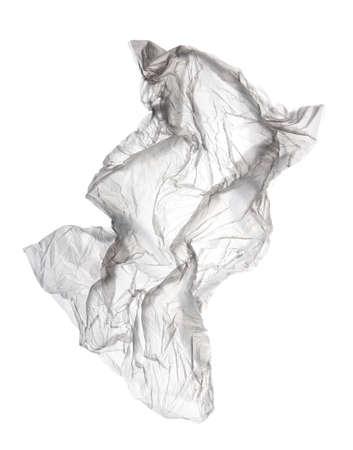 Flying transparent used polyethylene bag isolated on white Stock fotó