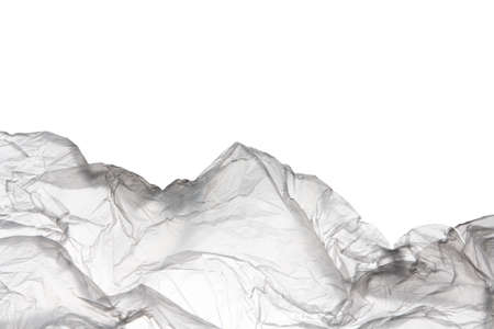 Transparent used polyethylene bag isolated on white  with copy space