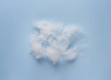 Siliconized hollowfiber, polyester fiber on a blue