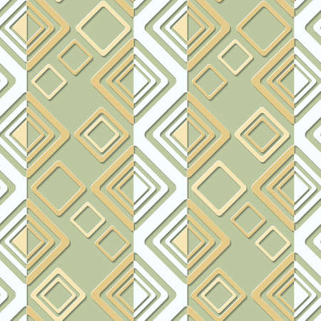 Geometric abstract seamless  pattern  with squares and  rhombus