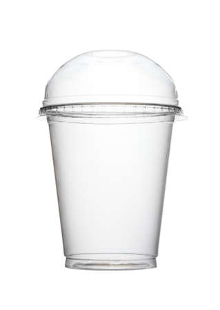 empty food plastic round container glass with closed lid isolated on a white background