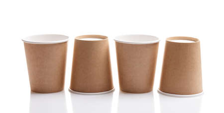 four eco paper cups isolated on white background