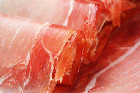 rolled slices of parma ham, macro