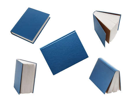 Set of blue books from different angles isolated on white 免版税图像