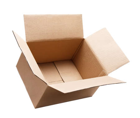 empty open cardboard box isolated on white 免版税图像