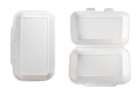 Empty takeaway food   container without cover, isolated on white 免版税图像