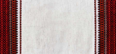 texture de tissu de lin avec broderie sur la bordure