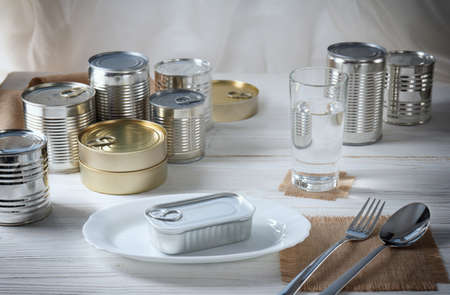 tin can on a white plate, the table is served by different cans 免版税图像