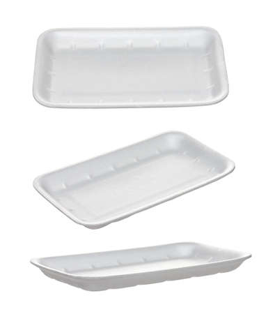 Set of empty takeaway food  container from different angles, isolated on white