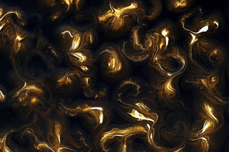 gold spotted stains of paint on a black background 免版税图像 - 145005984