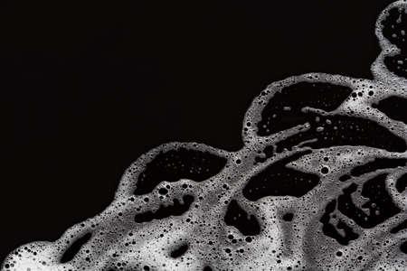 soap foam on light blue background, with copy space 免版税图像 - 145535323