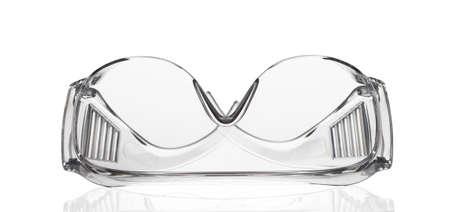 Safety plastic transparent glasses isolated on white 免版税图像 - 147023263