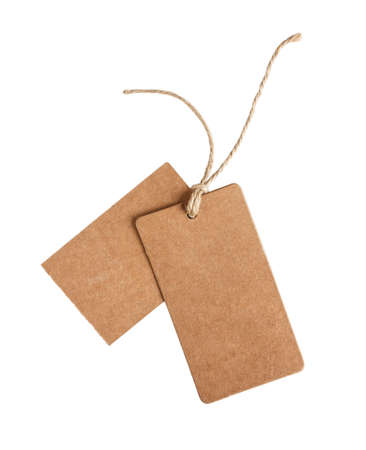 blank cardboard rectangle tag with untied rope, isolated on white