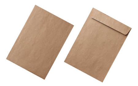 blank of recycled paper envelope on front and back sides, isolated on white 免版税图像 - 147727213