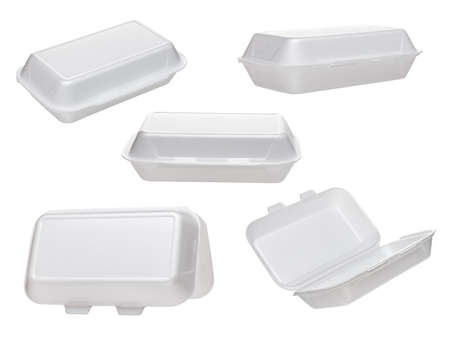 Set of empty takeaway food container isolated on white