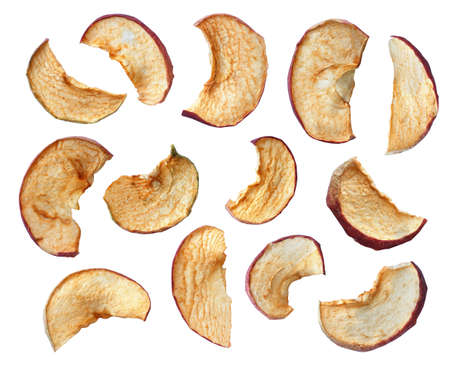 set of homemade dried apple slices isolated on white background