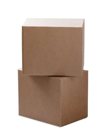 stack of two cardboard boxes of same size isolated on white