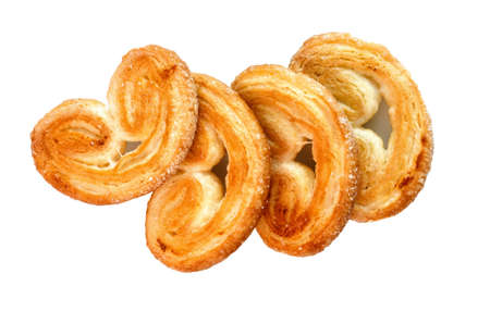 cookies of puff pastry isolated on a white background