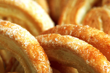 cookies of puff pastry, macro as food background