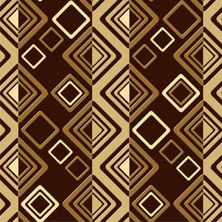 geometric abstract seamless vector pattern with squares and rhombus in brown tones 矢量图像