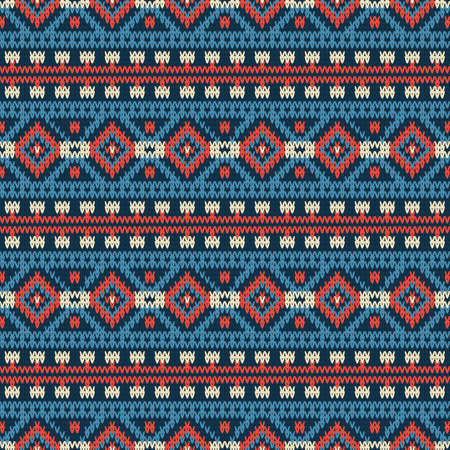 Seamless knitted pattern with color horizontal geometric stripes