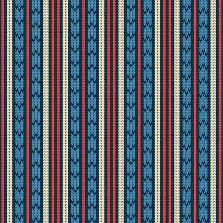 Seamless knitted pattern with vertical color geometric stripes