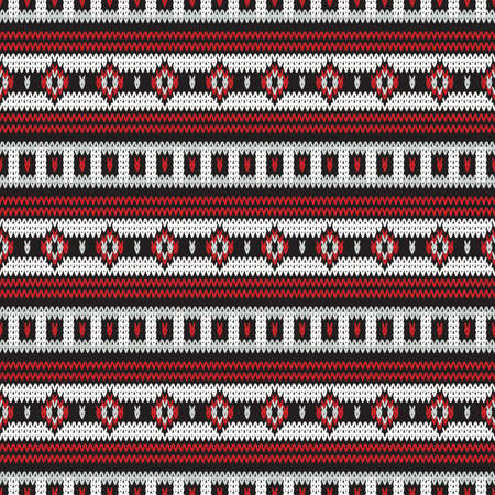 Seamless knitted pattern with horizontal geometric stripes