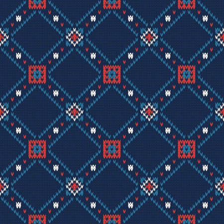 seamless knitted winter pattern on a blue background