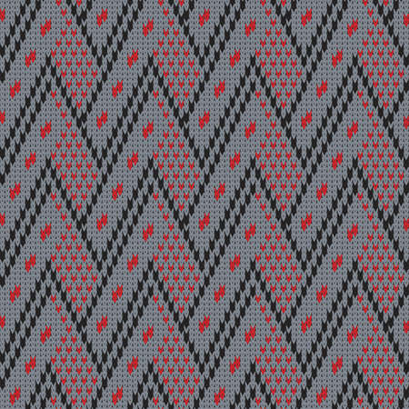 knitted seamless geometric pattern on gray background for winter warm clothes 矢量图像