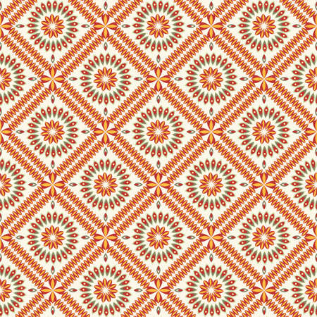 bright seamless pattern with square tiles and stylized flowers