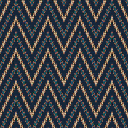 knitted seamless dark pattern with color zigzag