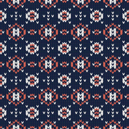 knitted seamless vector pattern with geometric elements on a dark blue background 矢量图像