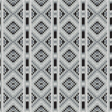 knitted seamless monochrome pattern with rhombus and vertical stripes