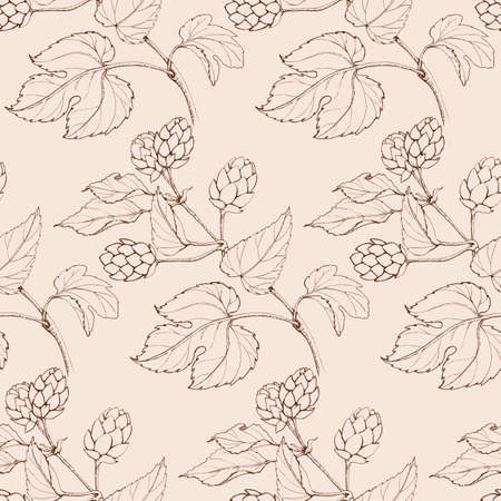 graphic seamless beige retro pattern sprigs of hops with leaves and cones