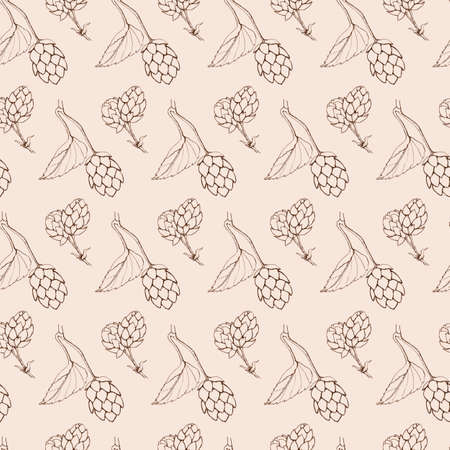 graphic seamless beige retro pattern hops leaves and cones 免版税图像