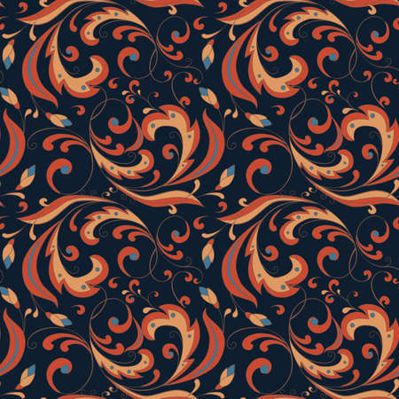 seamless floral pattern in Russian style on a dark blue