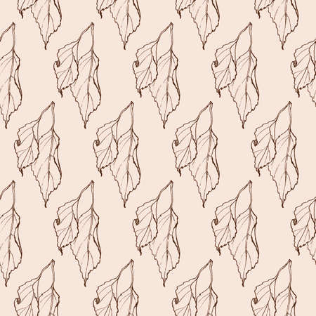 graphic seamless beige hand drawn pattern with leaves