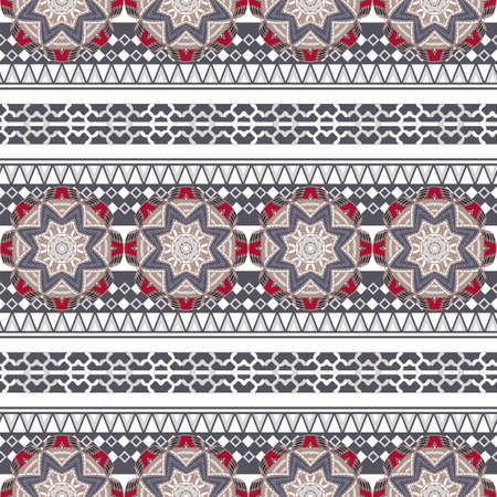 seamless striped pattern with folk motif 矢量图像