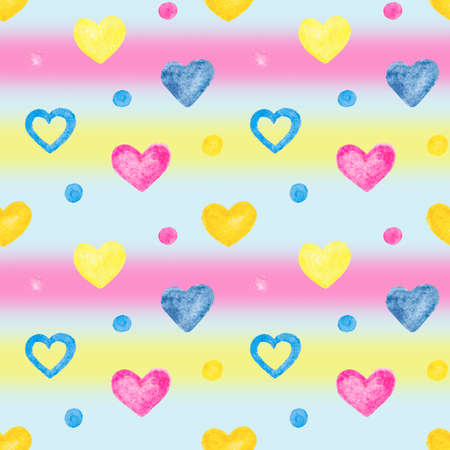 multicolored seamless pattern with watercolor hand drawn hearts on striped background 스톡 콘텐츠