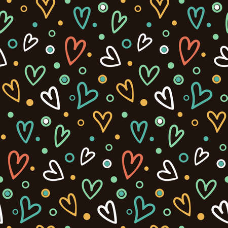 seamless pattern with small rainbow hand drawn hearts scattered on a dark background 일러스트