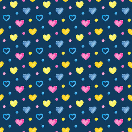 seamless pattern with watercolor rainbow hand drawn hearts on a dark blue background
