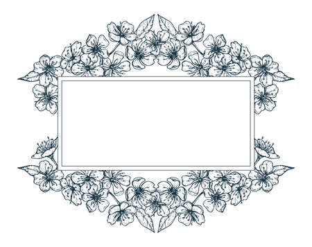 cherry blossom monochrome rectangular frame for design