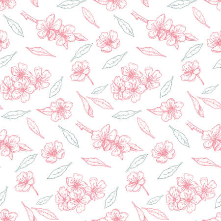 spring seamless pattern with delicate cherry flowers and leaves