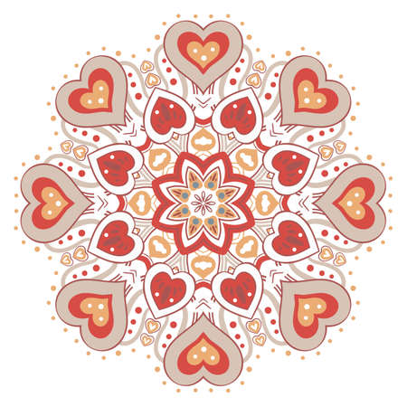 festive color mandala with red hearts
