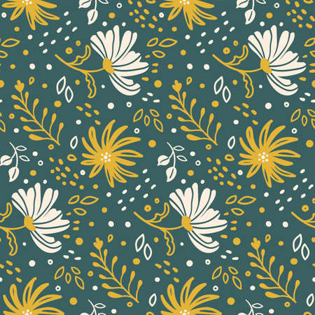 seamless summe pattern with wild and meadow flowers on a green background 일러스트