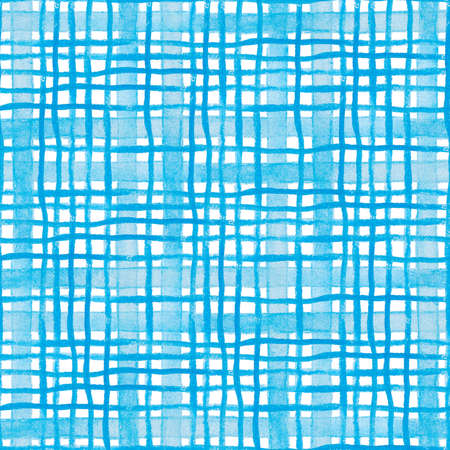 seamless watercolor pattern in blue check 스톡 콘텐츠