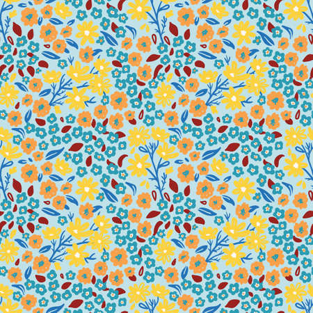 summer seamless floral pattern with small wild flowers, retro style 일러스트