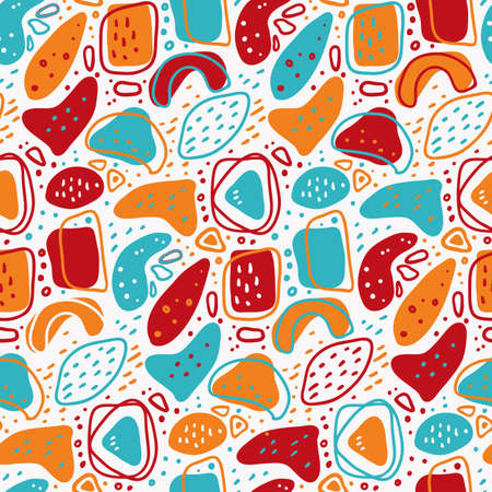 Bright abstract seamless pattern with chaotically scattered simple forms