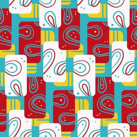 Bright geometric modern seamless pattern with multicolor rectangles and loops