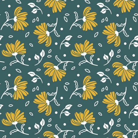 hand-drawn seamless pattern with yellow flowers on a green background